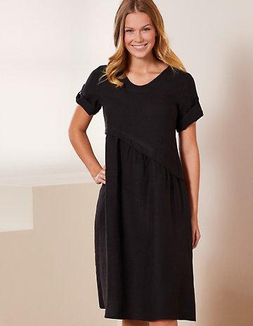 Deerberg Leinen-Kleid Rabna schwarz