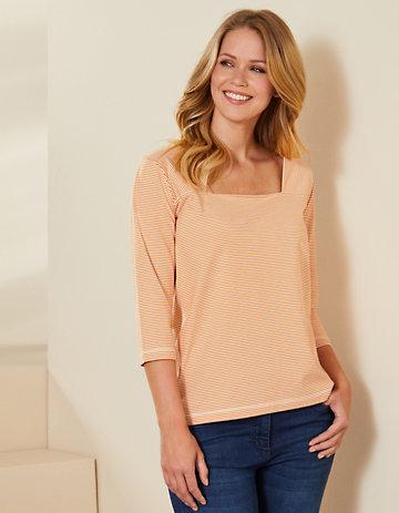 Deerberg Jersey-Shirt Agna aprikose-cremeweiß