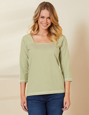 Deerberg Jersey-Shirt Agna salatgrün-cremeweiß