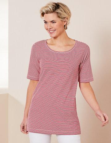 Deerberg Jersey-Shirt Erwine rot-cremeweiß