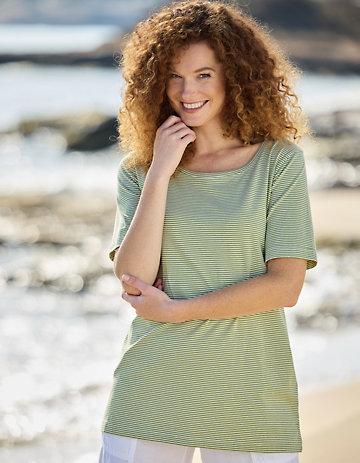 Deerberg Jersey-Shirt Erwine salatgrün-cremeweiß