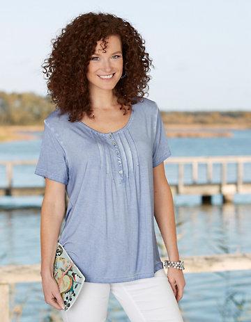 Deerberg Jersey-Shirt Orva mittelblau-washed