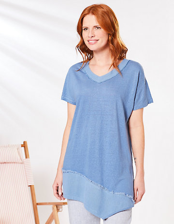 Deerberg Leinenjersey-Shirt Meranda balticblau