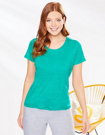 Deerberg Leinenjersey-Shirt Darnelle smaragdgrün