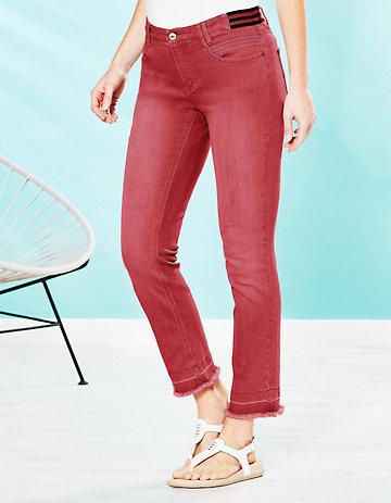 Deerberg Slim-Fit-Jeans Melonie nelkenrot-washed