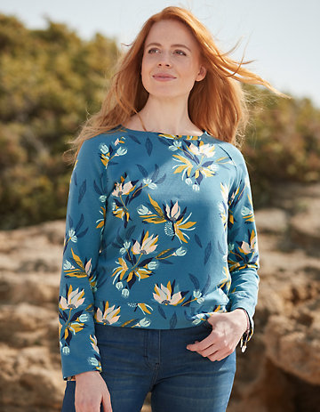 Deerberg Sweatshirt Finne petrol-geblümt