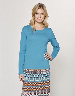 Deerberg Jersey-Shirt, langarm Cora pazifikblau