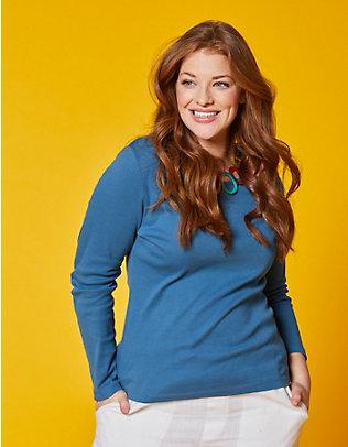 Deerberg Jersey-Shirt, langarm Cora dunkelpetrol