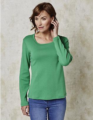 Deerberg Jersey-Shirt, langarm Cora blaugrün