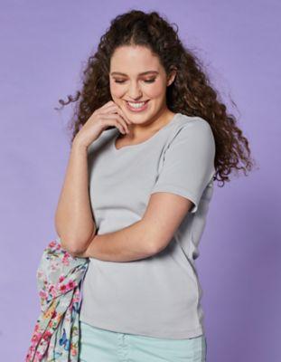 Deerberg Jersey-T-Shirt Feli perlgrau
